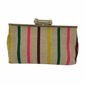 J. Crew Candy Stripe Jute Cotton Linen Clutch Bag